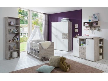 4-tlg. Babyzimmer in Eiche-Sand-Dekor / Weiß, Kleiderschrank B: 130 cm, Wickelkommode B: 115 cm. Kinderbett 70 x 140 cm