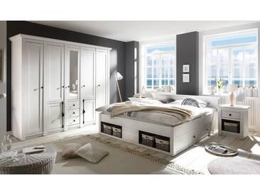 Schlafzimmer in Pinie-Weiß-Nachbildung, 4-tlg. bestehend aus Kleiderschrank, Bett mit Liegefläche 180x200 cm und 2 Nachtschränken