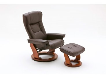Relaxsessel in braunem Echtleder inkl. Hocker, Gestell honigfarben, Maße: B/H/T ca. 83/105/85-110 cm