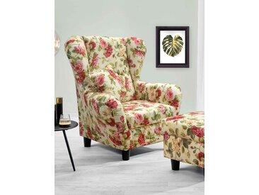 Sessel, Ohrensessel mit Zierkissen in Webstoff bezogen mit Blumenmuster, Füße schwarz