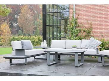 Premium-Lounge-Set mit Aluminium Gestell anthrazit, 3-tlg. mit 1 Tisch, 2-sitzer Sofa, 3-sitzer Sofa mit insg. 10 Kissen in creme weiß