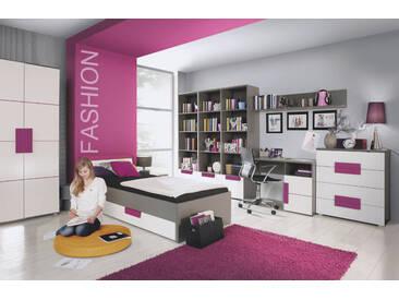 9-tlg. Jugendzimmer in mattem Grau, Weiß und Violett, Bett 90x200 cm, Regale B: 165,6 cm, Schreibtisch B: 110 cm, Kommode B: 89,9 cm