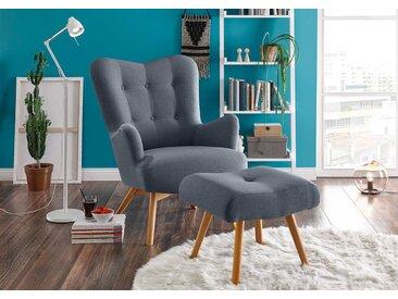 Sessel mit Hocker in stahlgrauem Webstoff bezogen mit Schaumstoffpolsterung, Füße aus Massivholz, Maße: B/H/T ca. 77/101/100 cm