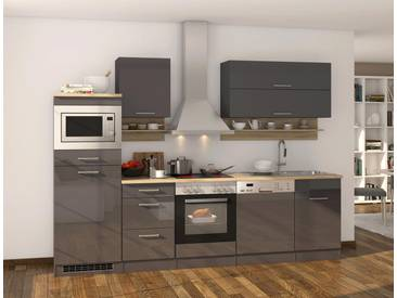 Küchenblock, Grau Hochglanz, Stellmaß: ca. 280 cm, Details lt. Artikelbeschreibung