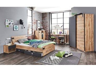 Jugendzimmer 3-tlg. in Plankeneiche-Nachbildung mit Abs. in Graphit, Kleiderschrank B: ca. 135 cm, Bett 120 x 200 cm, Schreibtisch B: ca. 140 cm