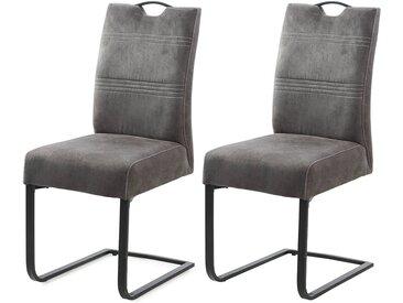 Schwingstühle mit dunkelgrauem Vintage-Stof, Taschenfederkernpolsterung, Maße: B/H/T ca. 44/99/57 cm