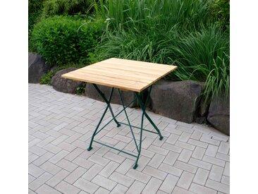 Klapptisch mit dunkelgrünem Flachstahlgestell und Belattung aus Robinienholz, Maße: B/H/T ca. 70/72/70 cm