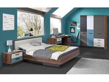 3-tlg. Jugendzimmer in Schlammeiche-Dekor/grau, weiß, schwarz und blau, Schrank B: 144 cm, Bett 140 x 200 cm, Nachtschrank B: 50 cm