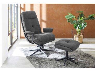 Relax Sessel in dunkelgrauem Webstoff inkl. Hocker, Fernsehsessel, drehbar, Sessel Maße: B/H/T ca. 78/102/85 cm
