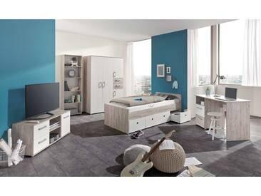 5-tlg. Jugendzimmer in Eiche-Sand-Dekor / Weiß, Kleiderschrank B: 130 cm, Jugendbett 90 x 200 cm, Schreibtisch, Standregal, Lowboard
