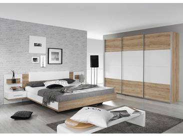 4-tlg. Schlafzimmer in Sanremo Eiche hell Nb./Abs. alpinweiß, Bett mit Nachttischen u. Polster B: 285 cm, Schwebetürenschrank B: 271 cm