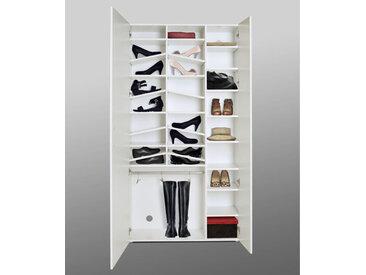 Schuhschrank Hochglanz weiß/Spiegel, 5 Fächer mit 4 Einlegeböden, 8 Einlegeböden, 1 Stange mit 3 Schuhhaltern,  Maße: B/H/T ca. 99,9/190,5/36,3 cm