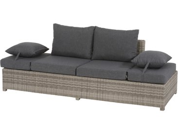 Loungebank aus Polyrattan-Doppelgeflecht in grau, Kopfseiten verstellbar, Alu-Gestell, inkl. Kissenauflage in dunkelgrau, Maße: B/H/T ca. 210/66/80 cm