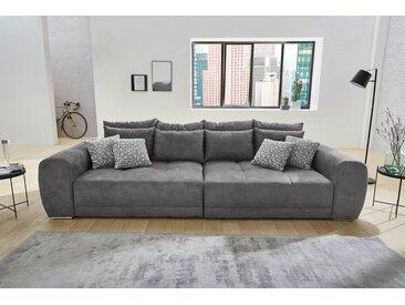 Big Sofa in dunkelgrauem Microfaserstoff mit 4 große Rückenkissen, 4 mittlere und 4 kleine Zierkissen, Maße: B/H/T ca. 306/83/134 cm