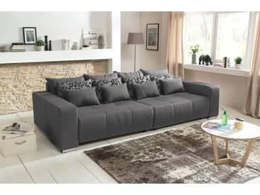 Big Sofa in grau mit einer Polyätherschaum-Polsterung, Schlaffunktion, 4 große, 4 mittlere und 4 kleine Kissen,  B/H/T ca. 294/88/146 cm