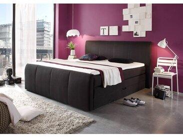 Boxspringbett in schwarz mit Bettkasten, 4-Gang Bonell-Federkern Obermatratze und Komfort Schaum-Topper, Liegefläche: 180 x 200 cm
