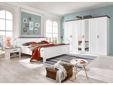 Schlafzimmer Set Im Landhausstil In Weiß Mit Einer Oberplatte In  Schlammeiche Nb.,