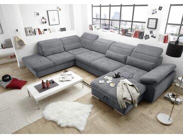 Wohnlandschaft in Anthrazit, mit Sitztiefenverstellung, Schlaffunktion, Bettkasten und Armteilverstellung, Maße: B/H/T ca. 394/80/260 cm