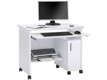 Schreib- und Computertisch in weiß, mit Tastaturauszug, Maße: B/H/T ca. 94/77/60 cm