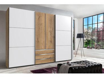 Kleiderschrank in Plankeneiche-Nachbildung - Außentüren in Weiß, Schwebetüren-Schrank mit 3 Schubkästen und 2 weiteren Drehtüren, 300 cm