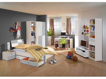 Jugendzimmer in Alpinweiß mit betonfarbigen lichtgrauen Absetzungen inkl. 2-trg. Kleiderschrank, Bett (90 x 200 cm) und Nachtschrank