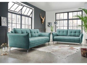 Polstergarnitur 2-tlg. in mintfarbenem Stoff bezogen bestehend aus 2,5-Sitzer und 3-Sitzer Sofa