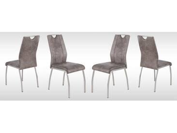 4er-Set Stühle in hellbraunem microfaserähnlichen Vintagelook mit Beinen im Edelstahllook und Gurtunterfederung, Maße: B/H/T ca. 43/98/53 cm