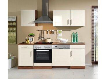 Küchenblock, creme Hochglanz, Stellmaß: ca. 220 cm, mit Elektrogeräten inkl. Geschirrspüler