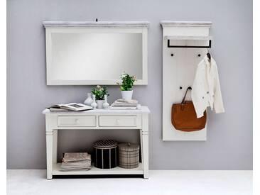 Garderobe-Set aus massiven, recyceltem Kiefernholz weiß/white sanded, Gesamtmaß: B/H/T ca. 189/200/40 cm