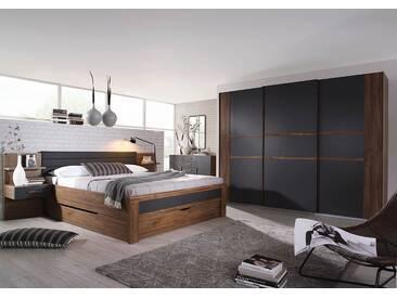 4-tlg. Schlafzimmer in Eiche Stirling NB mit Abs. in grau, Schwebetürenschrank B: 271 cm, Bettanlage Liegefläche 180 x 200 cm Gesamtbreite: 285 cm