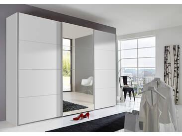 3-trg. Schwebetürenschrank in Alpinweiß mit 1 Tür verspiegelt, 3 Einlegeböden und 3 Kleiderstangen, Maße: B/H/T ca. 270/210/59 cm