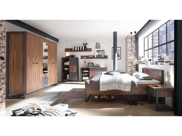 Schlafzimmer in Stirling Eiche-Nb., Abs. Schiefer-Optik, 4-tlg. bestehend aus Kleiderschrank, Bett mit Liegefläche 180x200 cm und 2 Nachtschränken
