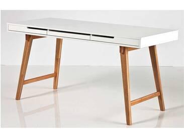 Schreibtisch in matt weiß mit Beinen in Buche massiv und 3 Schubkästen, Maße: B/H/T ca. 140/75/58 cm