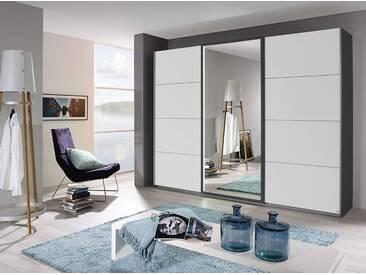 Schwebetürenschrank 3-trg. in grau-metallic mit Fronten in alpinweiß, 1 Spiegeltür mit Beleuchtung, Maße: B/H/T ca. 271/210/62 cm