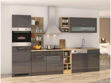 Küchenblock, grau Hochglanz, Stellmaß: ca. 310 cm, mit Elektrogeräten inkl. Geschirrspüler