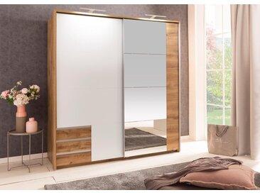 Schwebetürenschrank 2-trg. in Plankeneiche NB und weiß mit 4 Einlegeböden, 1 Kleiderstange, 3 Schubladen und Spiegel, Maße: B/H/T ca. 180/198/64 cm