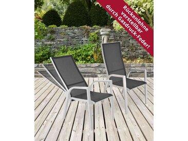 2 Gartenstühle mit Textylenbezug in anthrazit und einem Gestell aus Aluminium in hellgrau, Rückenlehne verstellbar Maße: B/H/T ca. 58,5/109/70 cm