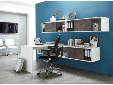 Büromöbelprogramm in weiß und Basalto-Dunkel, 4er Schiebetürregal-Set B: 120 cm, Anbautisch B:120 cm, hochwertige ABS-Kanten