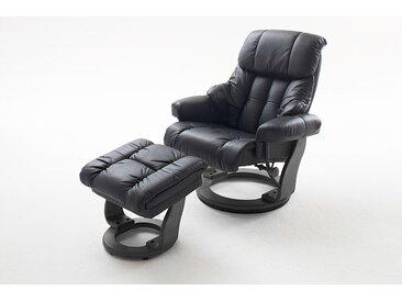 Relaxsessel in schwarzem Echtleder inkl. Hocker, Gestell schwarz, Maße: B/H/T ca. 90/104-89/91-122 cm