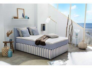 Boxspringbett in hellblau-creme gestreiftem Webstoff, 4 Kissen, Kaltschaum-Topper, Liegefläche 140 x 200 cm