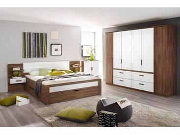 4-tlg. Schlafzimmer in Eiche Stirling NB mit Abs. in weiß, Drehtürenschrank B: 271 cm, Bettanlage Liegefläche 180 x 200 cm Gesamtbreite: 285 cm