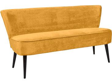 Diningbank in goldfarbenem samtähnlichen Stoff bezogen, Polster im Sitz bestehend aus einer Nosagunterfederung, Maße: B/H/T ca. 179/83/75 cm