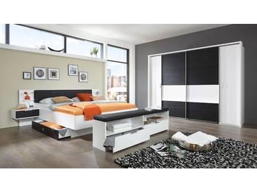 Schlafzimmer in Schwarzeiche-Nb./alpinweiß, Dreh-/Schwebetürenschrank 4-trg. B: 270 cm, Bettanlage 180 x 200 cm inkl. Beleuchtung