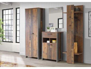 4-tlg. Garderobe in Old Wood Vintage-Nachb und Betonoptik, Braun, Grau,  Schrank B: 67 cm, Schuhschrank B: 67 cm, Paneel B: 60 cm, Spiegel B: 60 cm