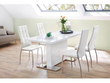 4er-Set Esszimmerstühle in weißem Kunstleder mit attraktiver Karo-Steppung und verchromten Stuhlbeinen, Maße.: B/H/T ca. 46/100/52 cm