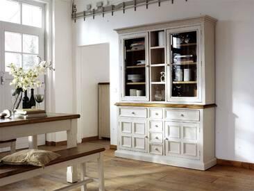 Buffet aus recyceltem Kiefer in weiß und und honigfarben, mit 2 Glastüren, 4 Fächern, 2 Türen und 6 Schubläden, Maße: B/H/T ca. 166/215/45 cm