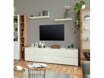 TV-Lowboard in weiß matt mit 1 Tür und 2 praktischen Doppelschubladen, Maße: B/H/T ca. 160/55/40 cm