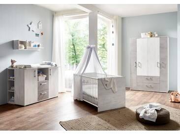 4-tlg. Babyzimmer in weiß gekälkter Holzoptik mit  Absetzungen in Steingrau Kleiderschrank, Wickelkommode und Kinderbett inkl. Lattenrost