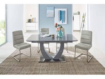 Auszugstisch in Hochglanz grau mit Glasplatte in grau, Synchronauszug mit Hebelfunktion, Fußplatte Edelstahl, Maße:  B/H/T ca. 160-200/76/90 cm