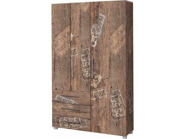 Dielenschrank in Panamaeiche-Dekor mit 3 Türen, 3 Schubladen, 2 Einlegeböden, 1 Kleiderstange und 12 Schuhstangen, Maße: B/H/T ca. 118/192,5/35 cm
